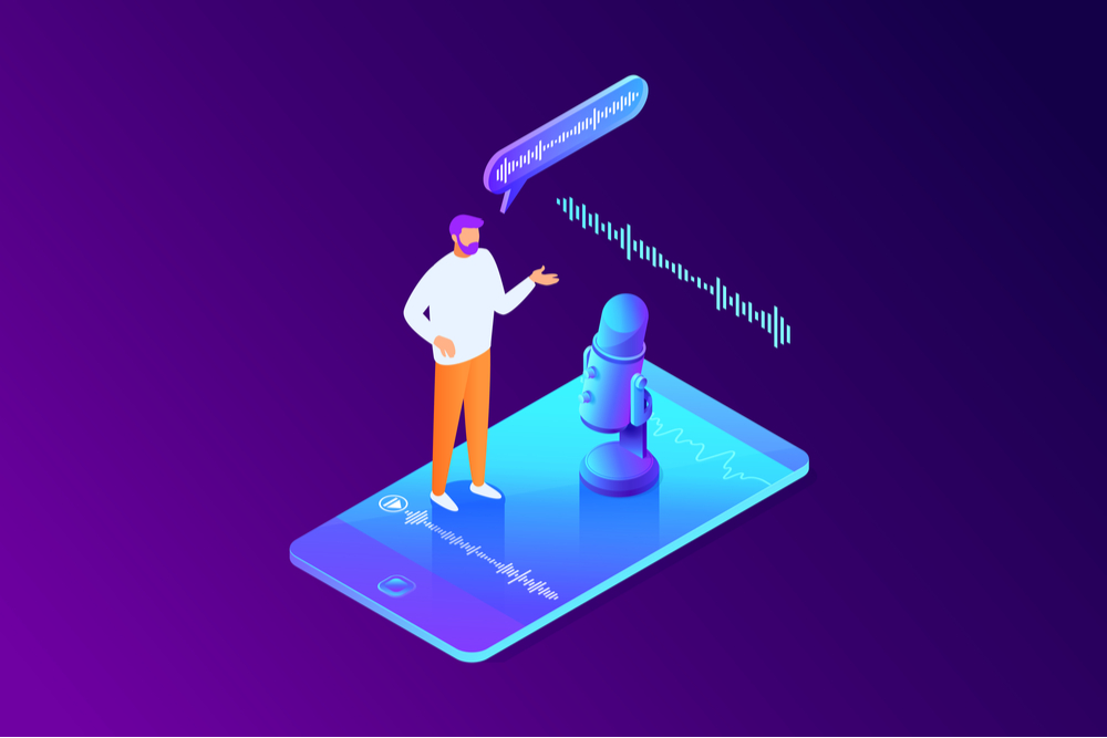 isometric concept of voice message recording man using microphone on phone communication
